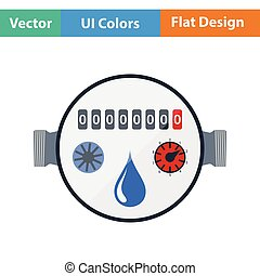 Water meter icon Flat color design Vector illustration