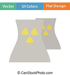 Nuclear station icon. Flat design. Vector illustration.