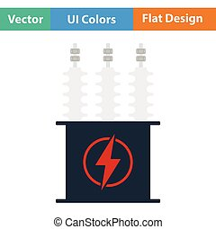 Electric transformer icon Flat color design Vector...