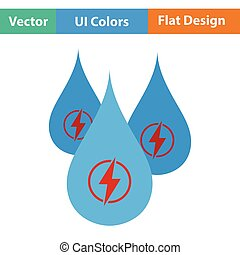 Hydro energy drops icon. Flat color design. Vector...