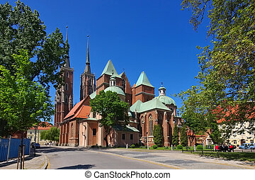 Breslau the cathedral in the city