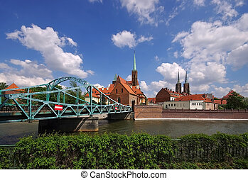 Breslau the cathedral island and river Oder