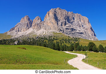 mountains Langkofel and Plattkofel in Dolomites - mountains...