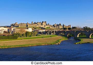 Castle of Carcassonne Pont Vieux, France - Castle of...