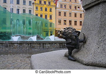 Breslau dwarf and fountain in the city