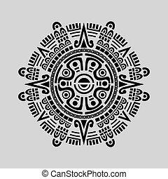 Mayan Calendar Vector - Vector of mayan calendar in grey...