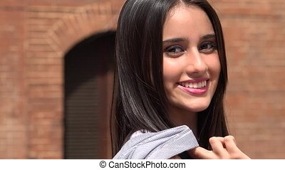 Confident Young Teen Girl Smiling