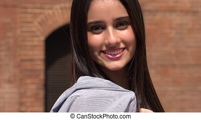 Confident Young Smiling Teen Girl