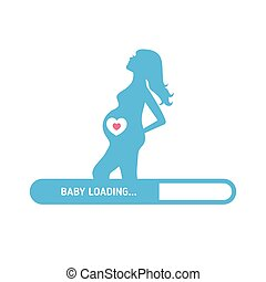 Pregnant woman consept. Silhouette of pregnant woman and set...