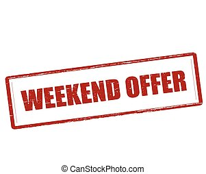 Weekend offer - Rubber stamp with text weekend offer inside,...