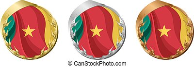 Medals Cameroon - A gold, silver and bronze medal with the...