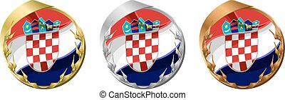 Medals Croatia - A gold, silver and bronze medal with the...