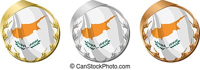 Medals Cyprus - A gold, silver and bronze medal with the...