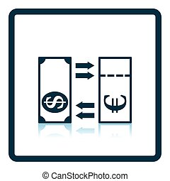 Currency exchange icon Shadow reflection design Vector...
