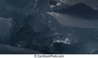 Huge blocks of ice Beautiful winter Lake Baikal