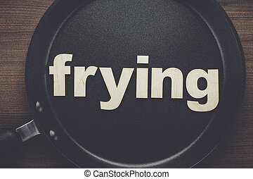pan with word frying - big pan on the table with word frying