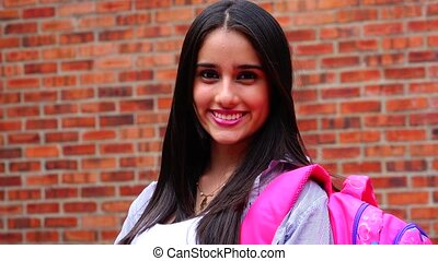 Pretty Smiling Teen Female Student