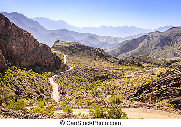 Mountain road in Oman - A treacherous road through Al Hajar...