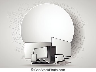 blank round tech - illustration of colorful screen...