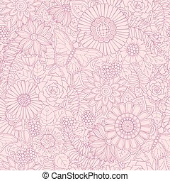 Monochrome pink seamless hand drawn pattern with abstract flowers and leaves. Doodle floral background with butterfly.