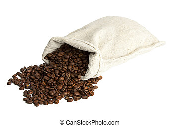 coffee beans and burlap sack isolated on white