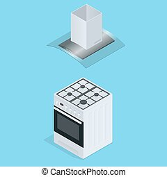Interior of kitchen, metal pan on the stove, cooking. Vector illustration in flat style. Flat 3d isometric illustration.