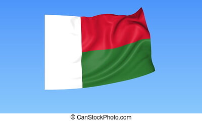 Waving flag of Madagascar, seamless loop. Exact size, blue...