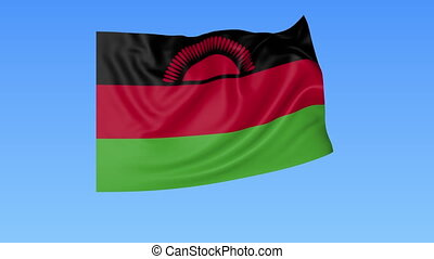 Waving flag of Malawi, seamless loop. Exact size, blue background. Part of all countries set. 4K ProRes with alpha.