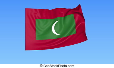 Waving flag of Maldives, seamless loop. Exact size, blue background. Part of all countries set. 4K ProRes with alpha.