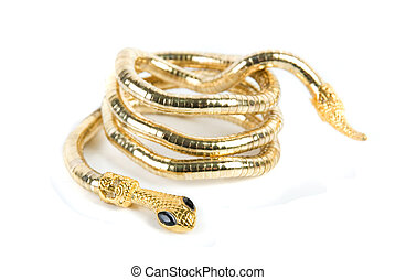 golden snake bracelet isolated on white background