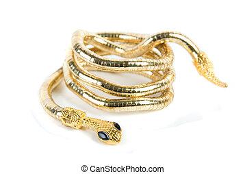 golden snake bracelet isolated on white background