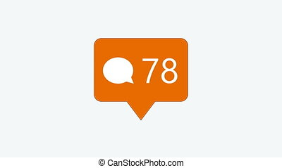 animation - modern comment orange icon on white background....
