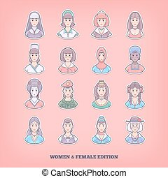 Cartoon people icons. Woman, girl, female design elements....
