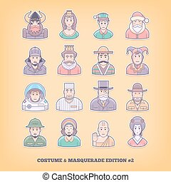 Cartoon people icons Costume playing, uniform, masquerade...