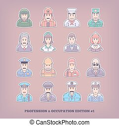 Cartoon people icons. Occupation and profession design...