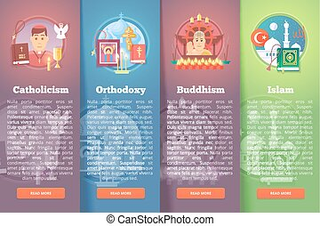 Set of religion vector flat banners Religions and...