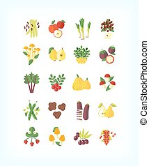 Set of vector vegetarian organic food. Flat fruit and...