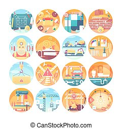 Construction concept icons set. Collection of flat circle illustrations. Modern colorful style.