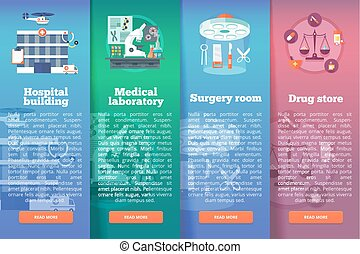 Set of medical science vector flat banners. Medical and healthcare vertical layout concepts. Flat modern style.