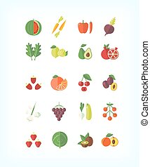 Set of vector vegetarian organic food Flat fruit and...