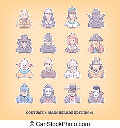 Cartoon people icons. Costume playing, uniform, masquerade...