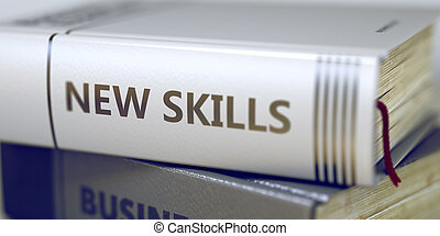 Book Title on the Spine - New Skills Stack of Books with...