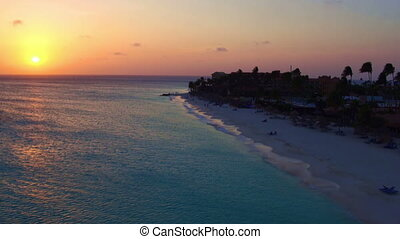 Aerial from Manchebo beach on Aruba - Beautiful sunset at...