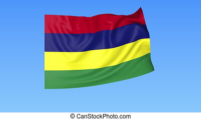 Waving flag of Mauritius, seamless loop. Exact size, blue background. Part of all countries set. 4K ProRes with alpha.
