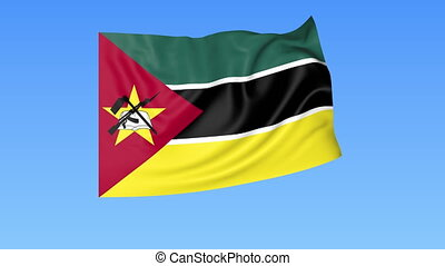 Waving flag of Mozambique, seamless loop. Exact size, blue...