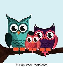 Owl family, vector illustration