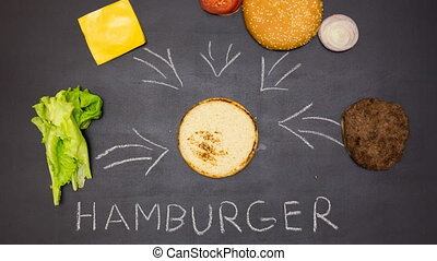 Building a Burger Stop motion animation - Top view of...