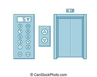 Close office building elevator and button panel. Line isolated vector.