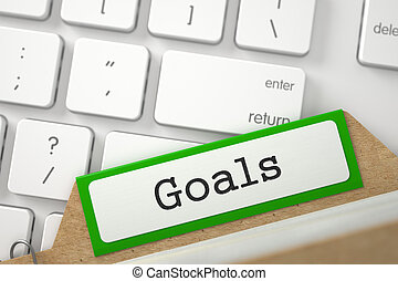 Sort Index Card with Inscription Goals - Goals Concept Word...