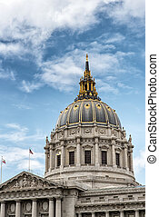 The Dome of San Francisco City Hall - The gold-accented dome...